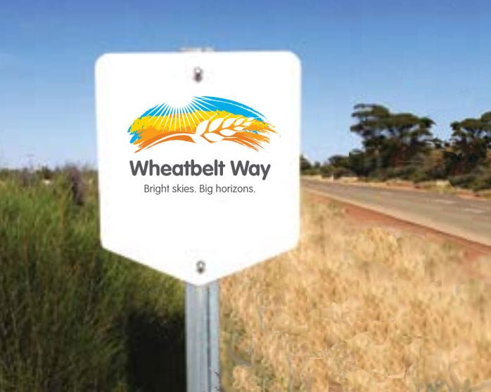 Wheatbelt Way marker sign by side of road in Beacon