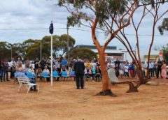 Crowd attend outdoor ANZAC Service 2013