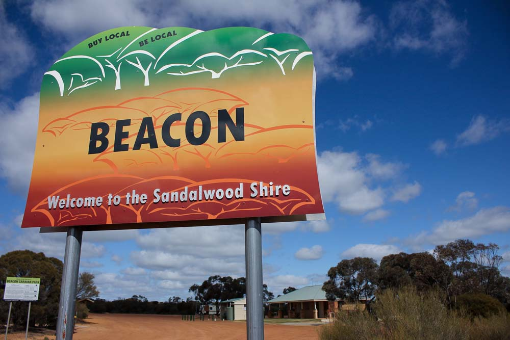 Beacon Caravan Park welcome sign