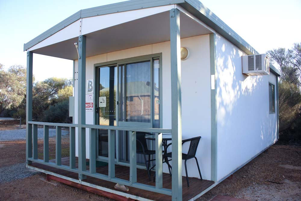 Outside view of a Beacon Caravan Park cabin B