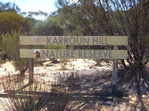 Karroun Hill Nature Reserve sign near Beacon in Western Australia