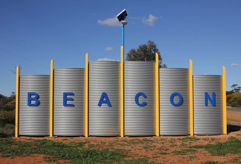 Beacon welcome installation at entrance to town