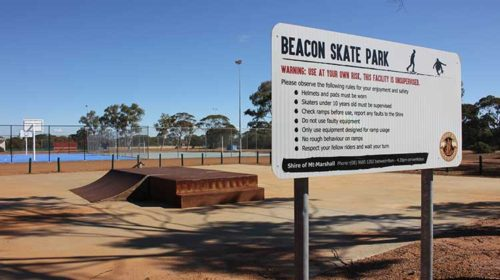 Sign and Skate Park in background at Beacon Sporting Complex