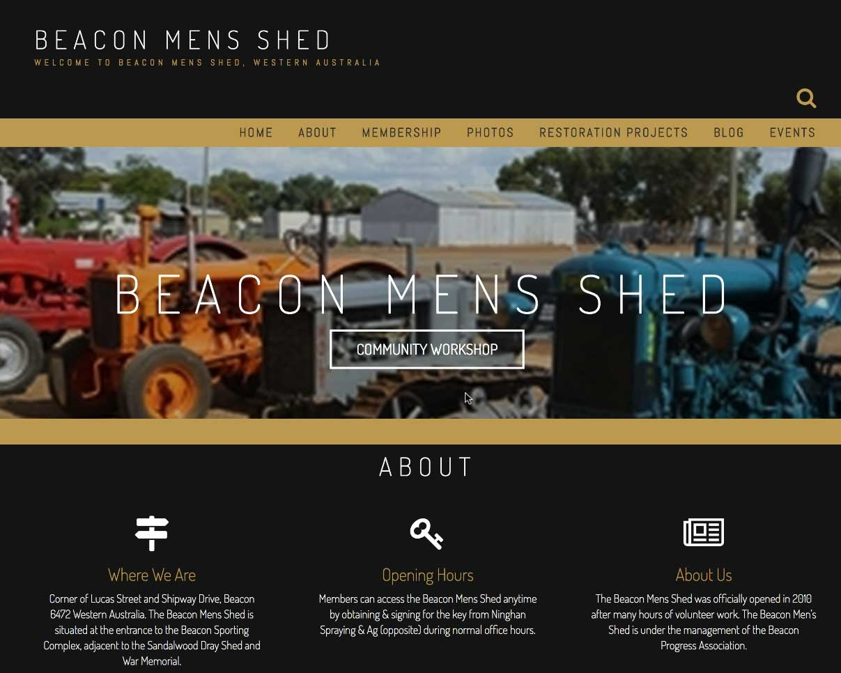 A screen shot of the homepage of the Beacon Mens Shed website