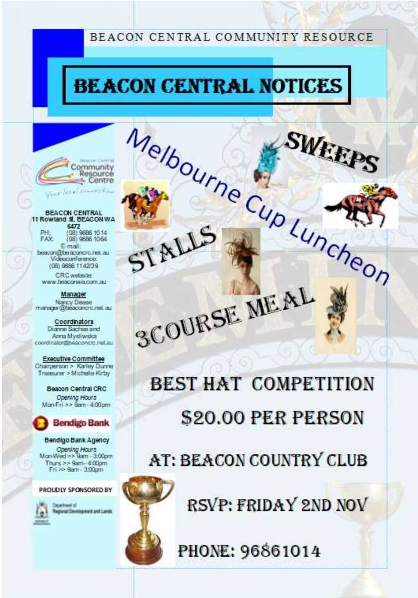 Poster for Melbourne Cup Luncheon in Beacon 2018