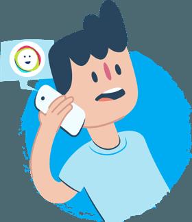 Kids Helpline - illustration of child talking on phone