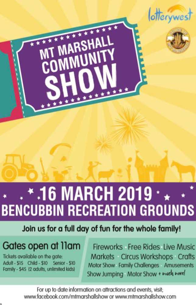 promotion for Mt. Marshall Community Show 16 March 2019