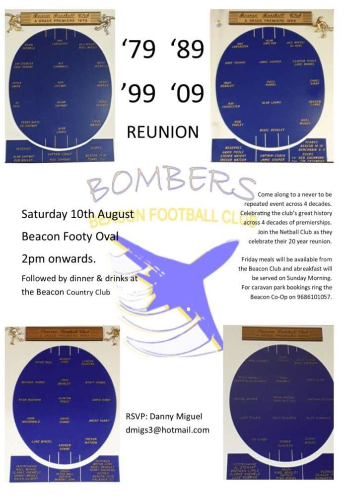 Football promotion for Beacon Bombers Reunion