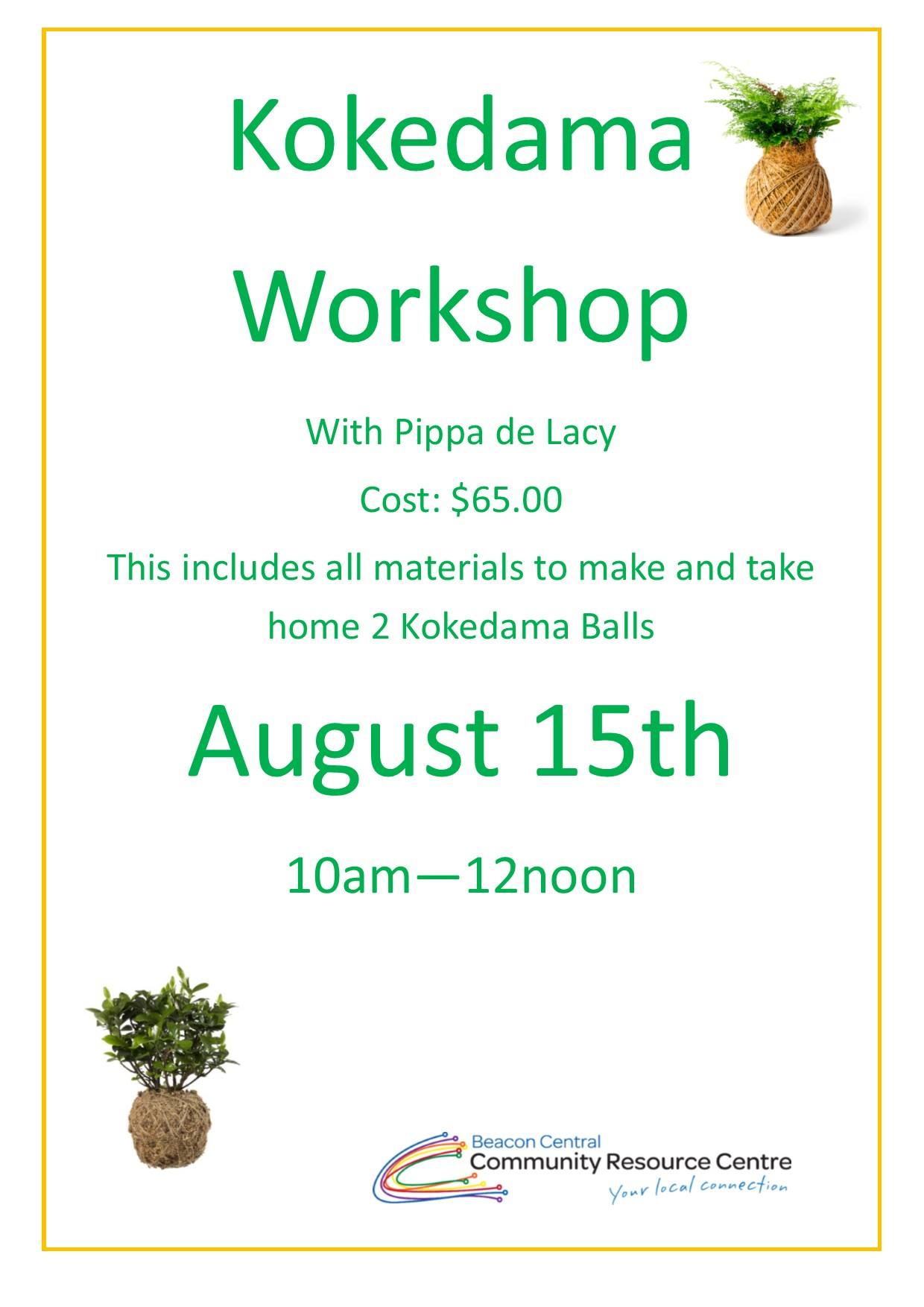 kokedama workshop promotion at Beacon Central CRC