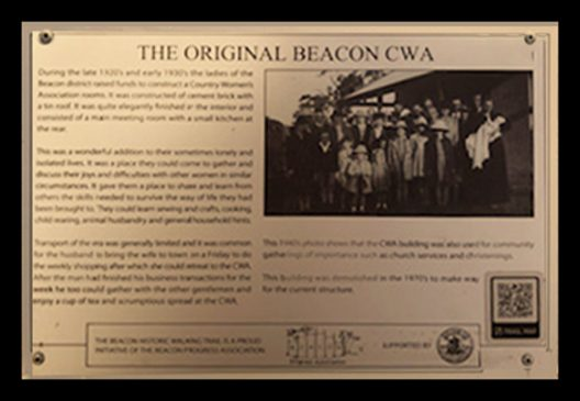 A Historic Walking Trail plaque of the original Beacon Country Woman's Association