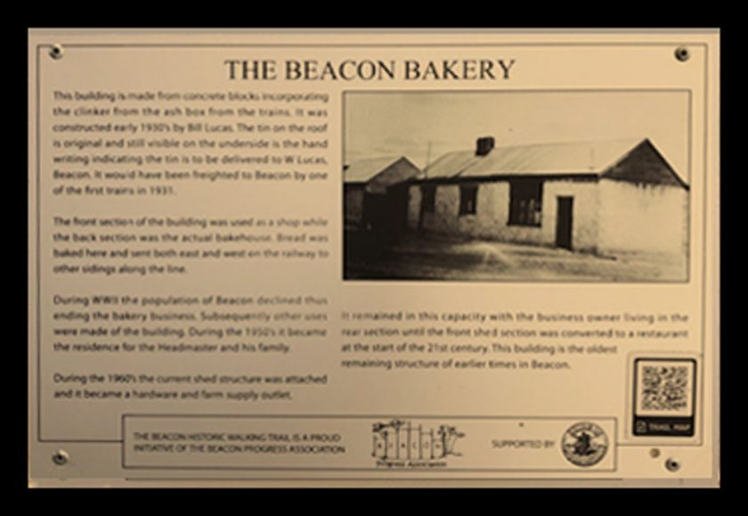 A Historic Walking Trail plaque fo the old Beacon Bakery