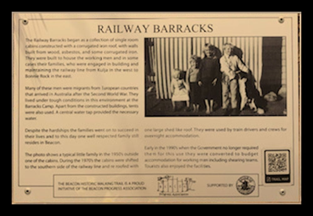 A Historic Walking Trail plaque of the Railway Barracks in Beacon, Western Australia