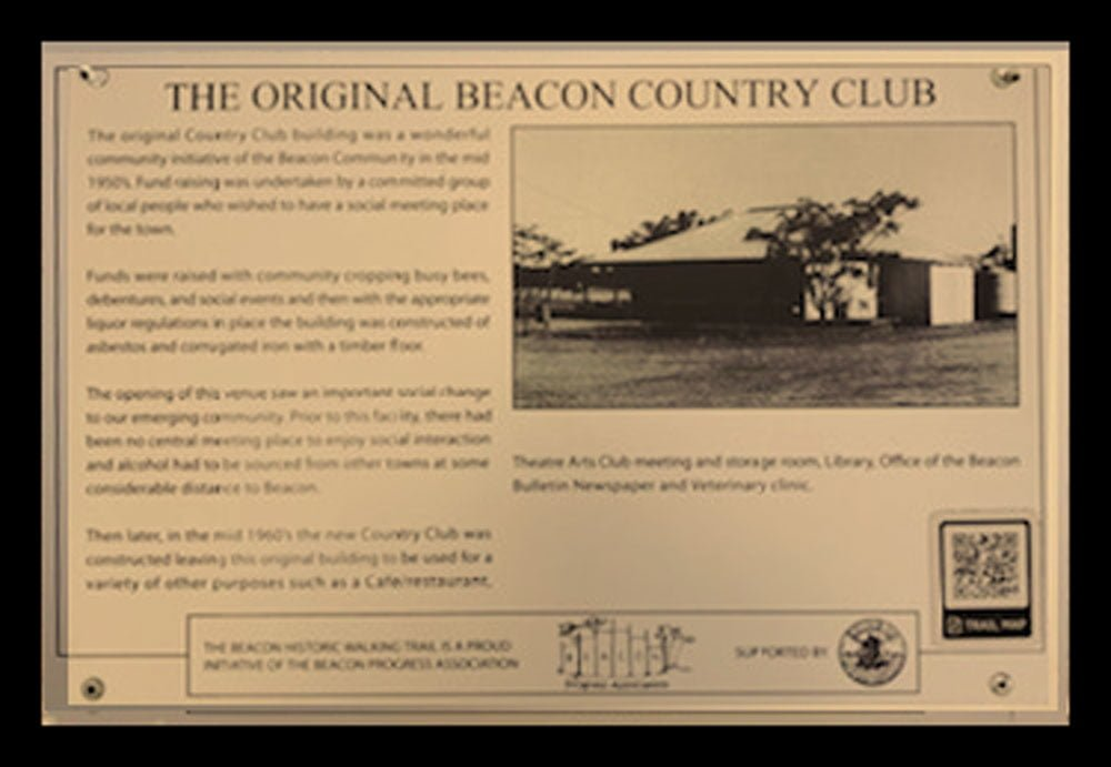 A Historic Walking Trail plaque of the Original Beacon Country Club