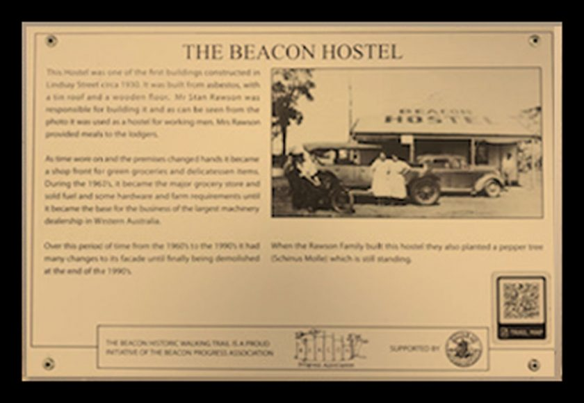 A Historic Walking Trail plaque of the Beacon Hostel