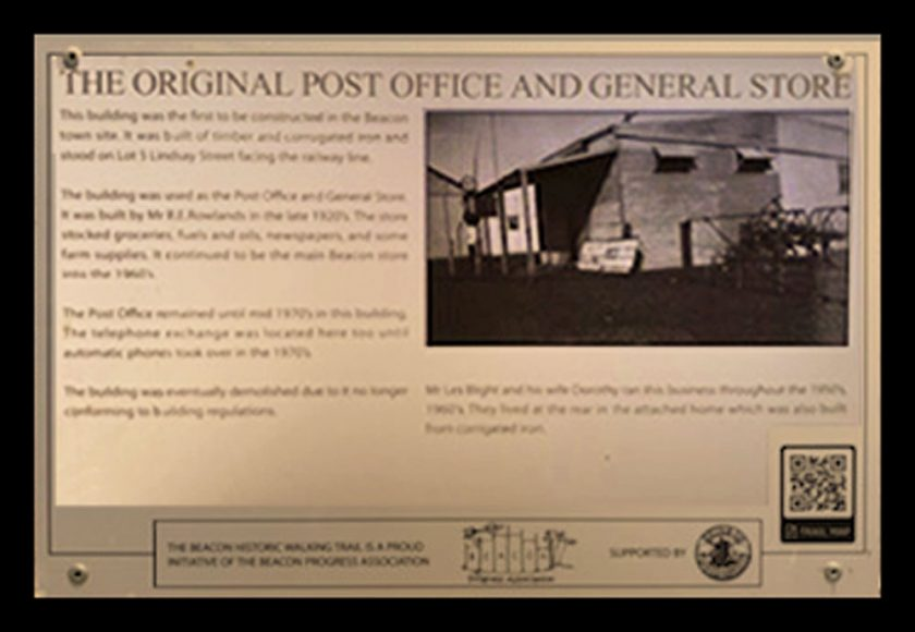 A Historic Walking Trail plaque of the original Beacon Post Office