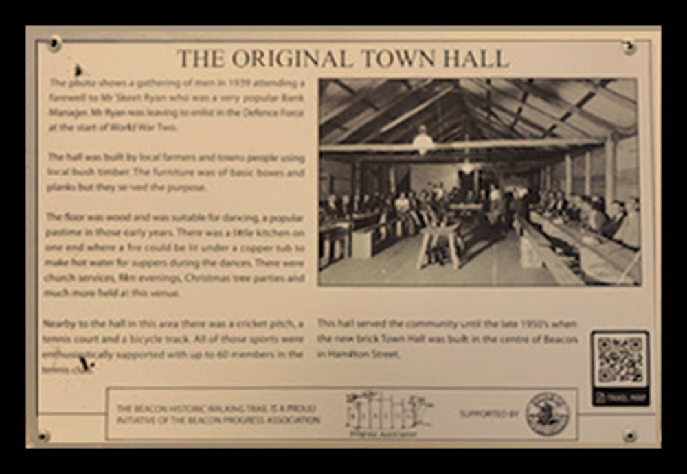 A Historic Walking Trail plaque of the original Old Town Hall