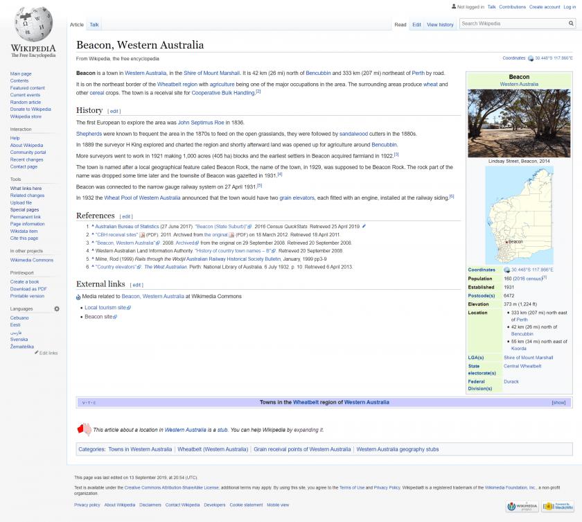 screenshot of beacon western australia taken from wikipedia