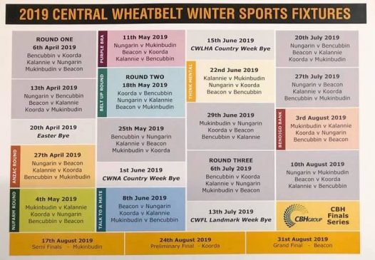 line up of sports fixtures in Beacon for 2019