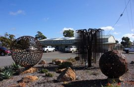 Metal art installation outside the Beacon Co-operative General Store